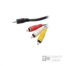 520 1.5M Nickel Stereo 3.5MM Plug 4 Pole To 3RCA Plug,