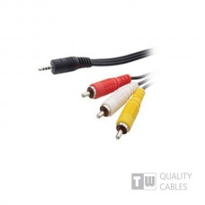 520 5M Nickel Stereo 3.5MM Plug 4 Pole To 3RCA Plug,