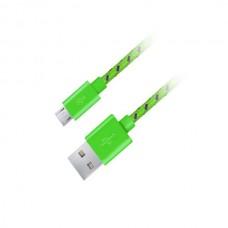 Καλώδιο Micro USB 2.0 1m Fabric braided πράσινο