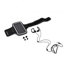 Ακουστικά με μικρόφωνο με Sport θήκη μπράτσου για Smartphones Μαύρο Platinet