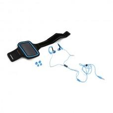 Ακουστικά με μικρόφωνο με Sport θήκη μπράτσου για Smartphones Μπλε Platinet