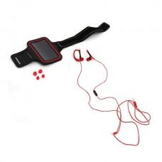 Ακουστικά με μικρόφωνο με Sport θήκη μπράτσου για Smartphones Κόκκινο Platinet