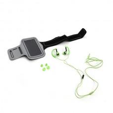 Ακουστικά με μικρόφωνο με Sport θήκη μπράτσου για Smartphones Πράσινο Platinet